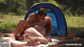 Ginger slut enjoys great camping trip fucking all day