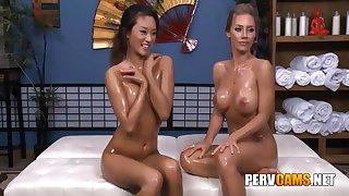 Nicole And Alina Lesbian Associates Oiled Body Playing - Nicole Aniston And Alina Li
