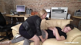 Cock starved mature German lady wakes up her stepson with said sex