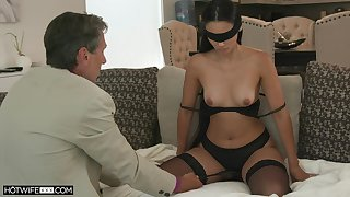 Blind-folded tie the knot fucked at the end of one's tether a guy older than her, her hubby's abb�