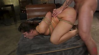 Cheating housewife is punished with rough bondage sex