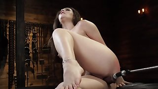 Curvy dame is moaning while fucking machine drills her cunt