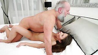 Old swain is making love with young mistress