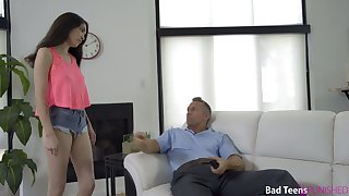 Nice brunette Jericha Jem gets say no to ass spanked and fucked by strict stepdad