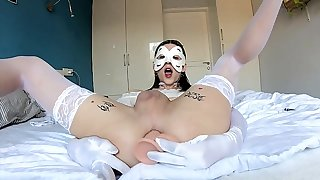 Massked angel With fake penis